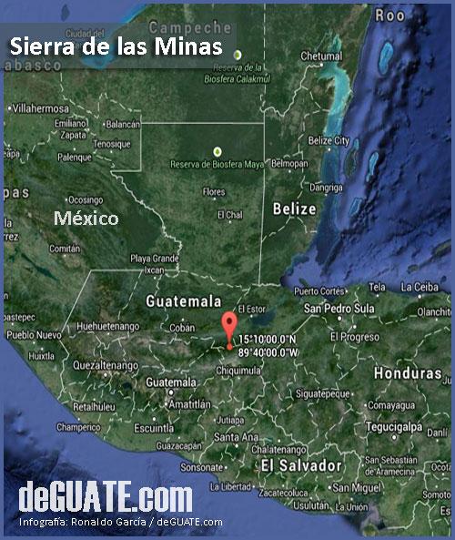 Mapa de la Sierra de las Minas en Guatemala