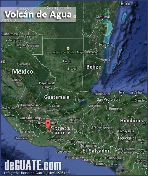 Mapa Volcan de Agua - Guatemala