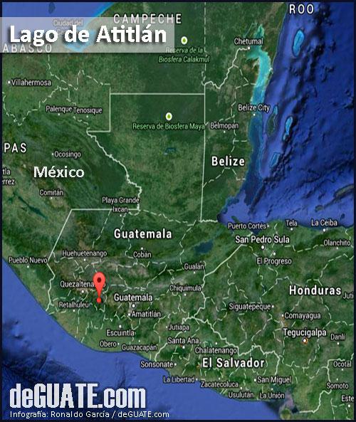 Atitlan en el mapa de Guatemala
