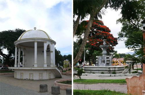Concha y fuente en Plaza central de Parramos, Chimaltenango
