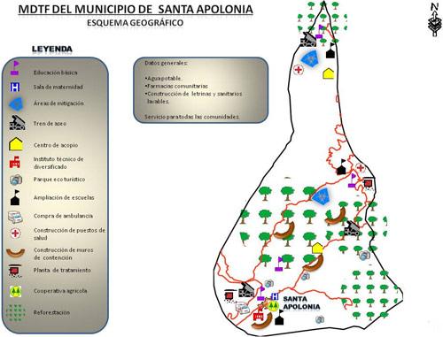 Esquema Geográfico de Santa Apolonia, Chimaltenango