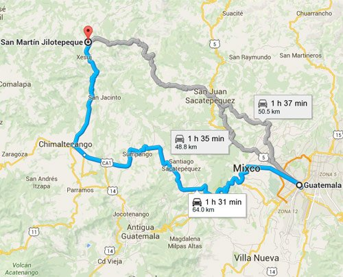 Rutal alternas hacia San Martin Jilotepeque, Chimaltenango
