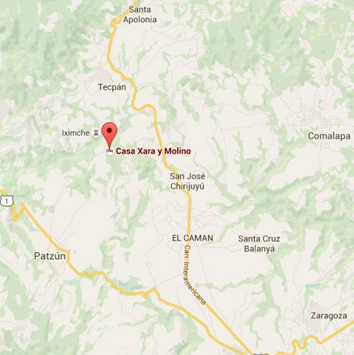 Mapa de ubicación de Casa Xara, carretera a Tecpán, Chimaltenango