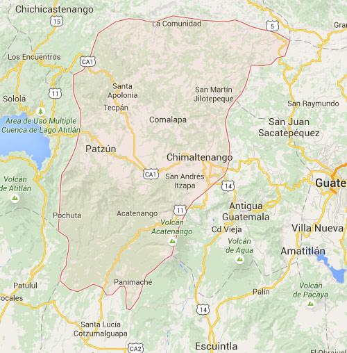 Mapa de ubicación de Chimalteanango, Guatemala