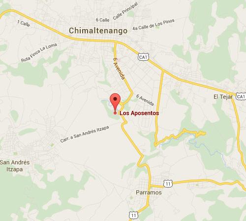 Mapa de ubicación de Los Aposentos en Chimaltenango, Guatemala