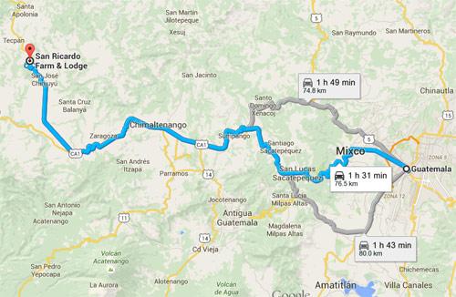 Distintas rutas para llegar a San Ricardo Farm & Lodge, Chimaltenango