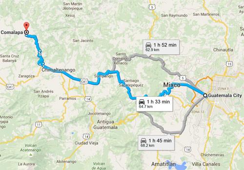 Mapa de ruta hacia San Juan Comalapa, Chimaltenango