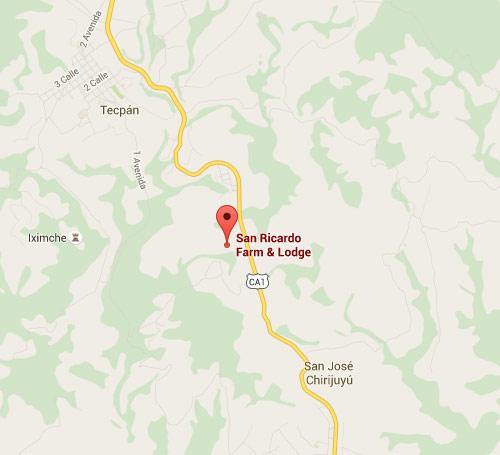 Mapa de ubicación de San Ricardo Farm & Lodge, Chimaltenango, Guatemala