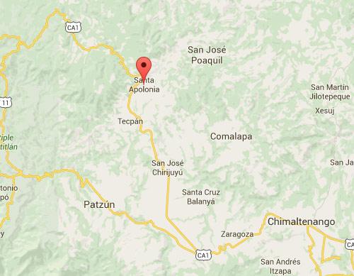 Mapa de Santa Apolonia, Chimaltenango, Guatemala