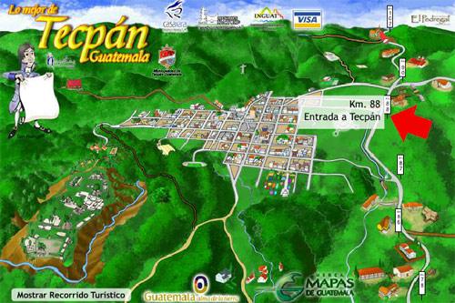 Mapa de Tecpán a escala, Chimaltenango