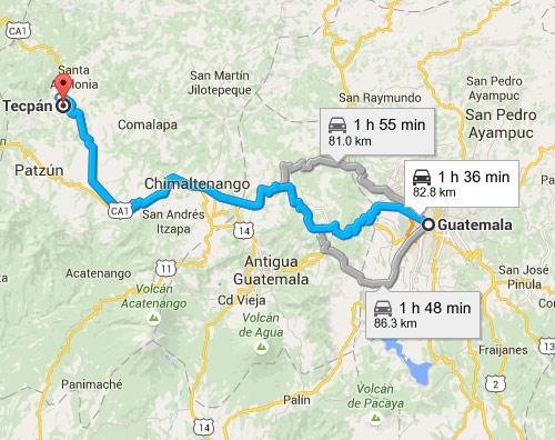 Mapa de las rutas alternas hacia Tecpán, Chimaltenango desde ciudad capital de Guatemala