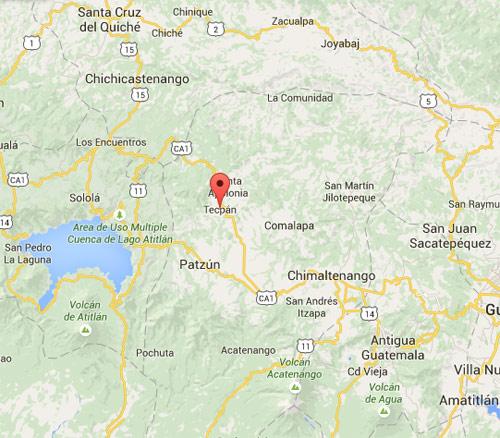Mapa de Tecpán, Chimaltenango, Guatemala