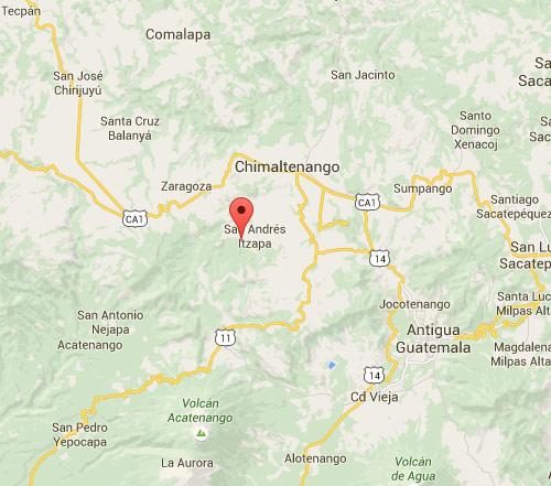 Mapa de ubicación de San Andrés Itzapa, Chimaltenango, Guatemala