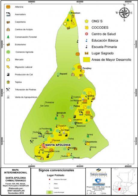 Mapa interdimensional de Santa Apolonia, Chimaltenango, Guatemala