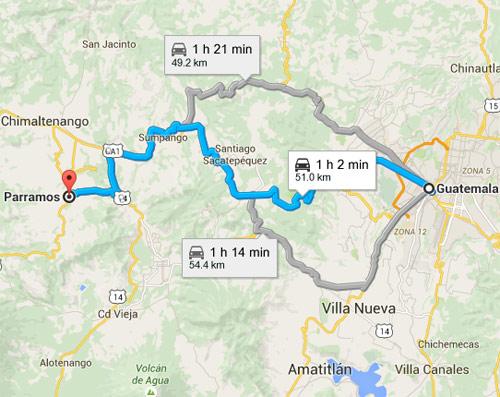 Diferentes rutas desde Ciudad capital hacia Parramos, Chimaltenango, Guatemala