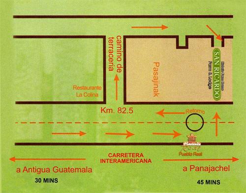 Mapa San Ricardo Farm & Lodge, Tecpán, Chimaltenango, Guatemala