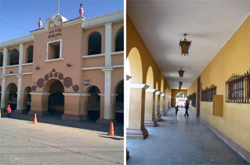 Frente y pasillo del Palacio municipal de Tecpán, Guatemala