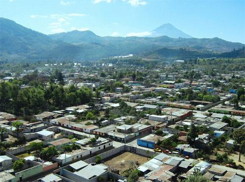 Vista aérea de Parramos, Chimaltenango, Guatemala