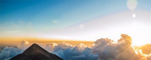 Vista panorámica del volcan de Fuego, Chimaltenango, Guatemala