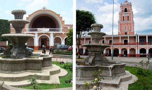 Concha acústica y Palacio Muncipal en Parque Central de Huehuetenango, Huehuetenango