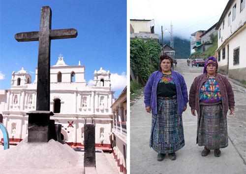 Catedral de San Mateo Ixtatán y mujeres portando traje típico, Huehuetenango, Guatemala