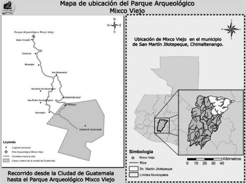 Mapa de ubicación de Mixco Viejo, San Martín Jilotepeque, Chimaltenango