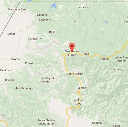 Ubicación de San Mateo Ixtatán, en mapa de Huehuetenango