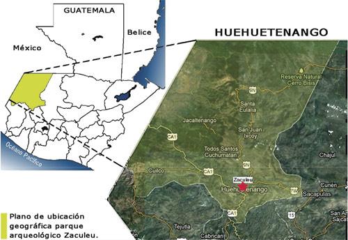 Plano de ubicación del Parque Arqueológico Zaculeu, Huehuetenango, Huehuetenango