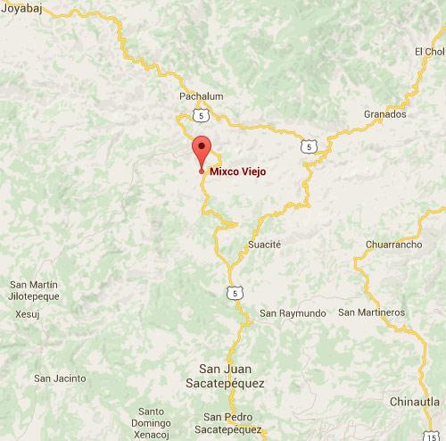 Mapa de Mixco Viejo, San Martín Jilotepeque, Chimaltenango, Guatemala