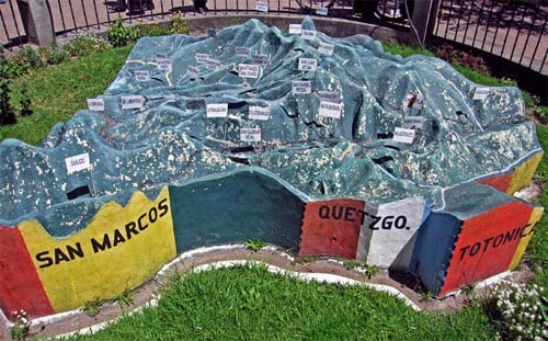 Mapa en Relive de Huehuetenango, Plaza de Armas, Huehuetenango