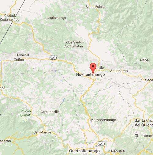 Mapa de Huehuetenango, Huehuetenango, Guatemala