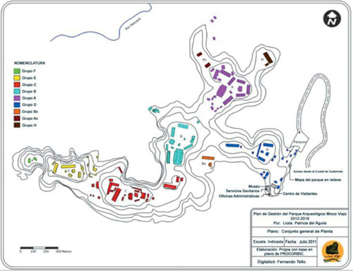 Plano de Sitio arqueológico Mixco Viejo, San Martín Jilotepeque, Chimaltenango