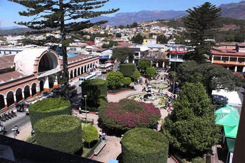 Vista aérea del Parque Central, Huehuetenango, Huehuetenango