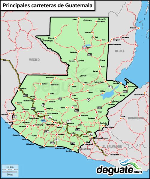 Mapa de carreteras distancias tiempos Guatemala