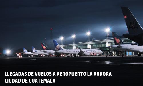 Llegadas de vuelos a la ciudad de Guatemala