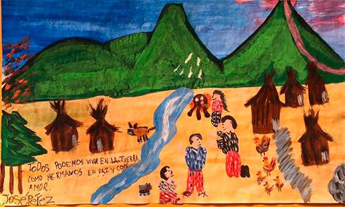 Estudiante guatemalteco gana premio en concurso de dibujo de UNICEF.