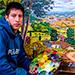 Guatemalteco comparte Momostenango en sus obras de arte.