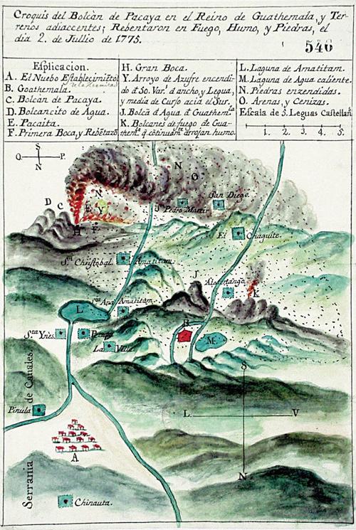 Croquis Erupcion Volcan Pacaya 1775