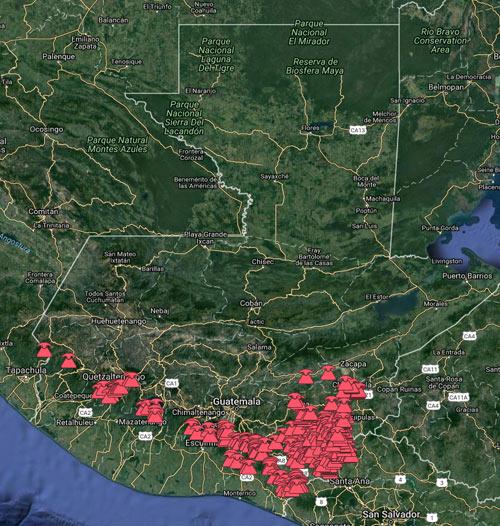 Focos eruptivos en Guatemala