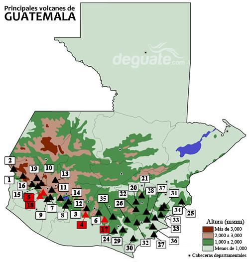 Mapa de los volcanes de Guatemala