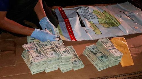 Dinero decomisado al narcotráfico en Guatemala