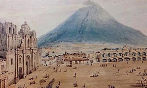 Antigua Guatemala y volcan de agua 1827
