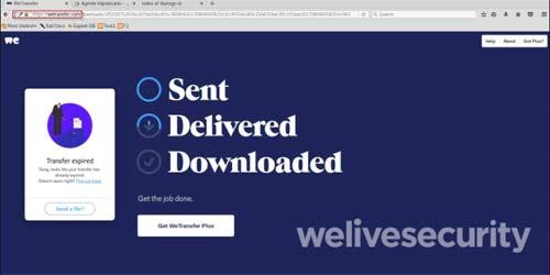 Correos falsos con archivos de Wetransfer