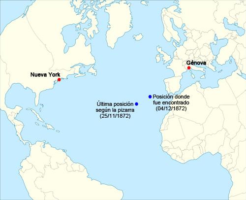 Mapa desaparicion barco fantasma Mary Celeste