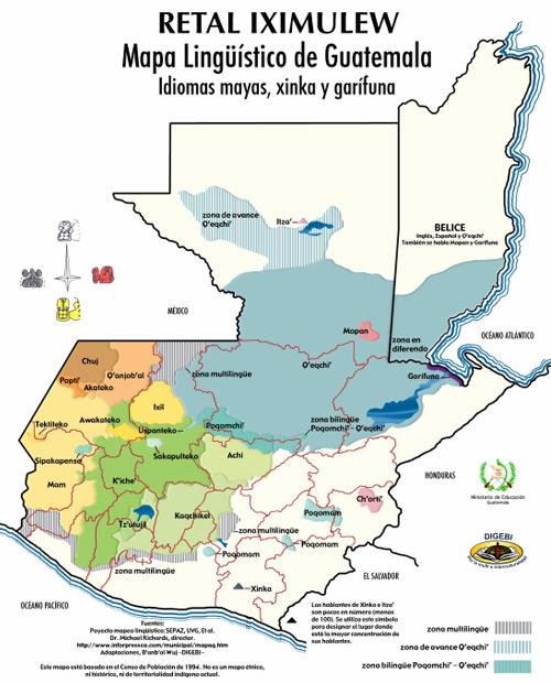 Mapa lingüistico de Guatemala
