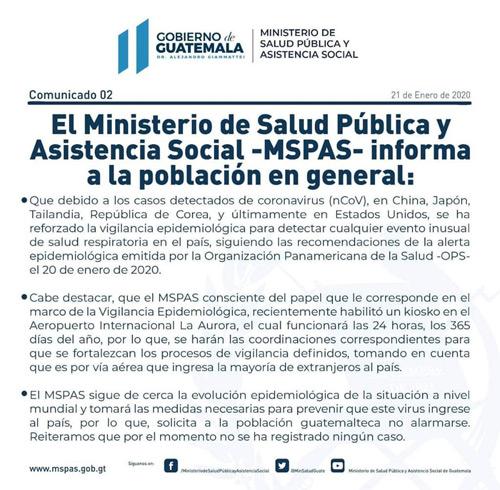 Comunicado Ministerio de Salud 2019-nCoV Guatemala