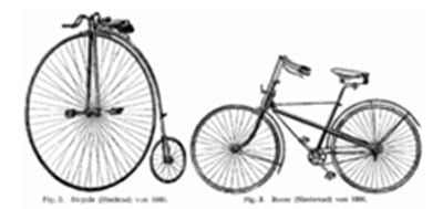 Imagen tomada de un diccionario de tecnologia de 1904 que muestra una bicicleta de 1880 (izq.) y una Rover Safety Bicycle de 1886 (der.), precursora de la bicicleta moderna.
