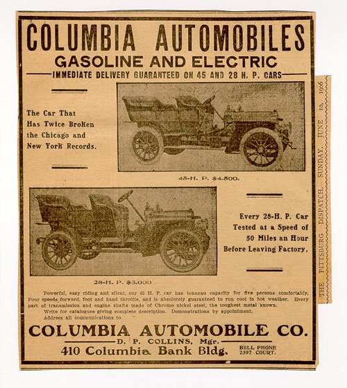 Anuncio de principios de siglo 20 de carros marca Columbia en USA