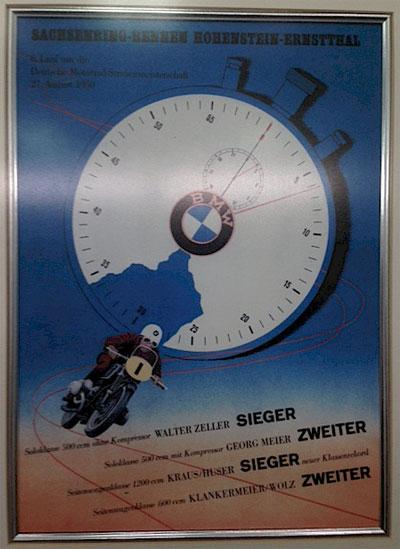 Afiche BMW carrera Sajonia, Alemania, 1950