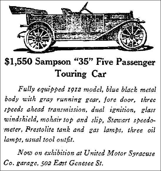 Anuncio automovil Sampson 35 del año 1912